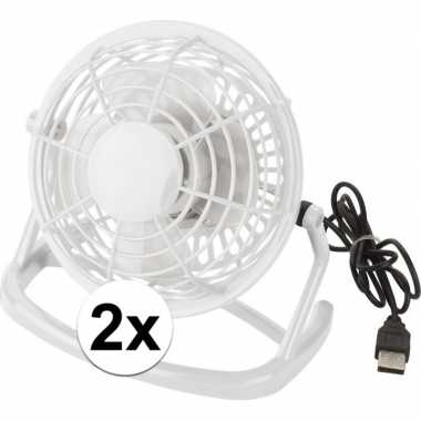 2x mini bureau ventilator usb wit
