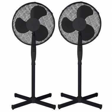 2x staande ventilatoren zwart 40 cm