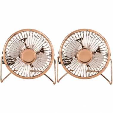 2x stuks kleine bureau ventilatoren rose goud 15 cm met usb aansluiting