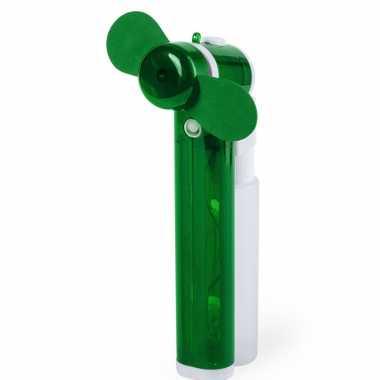 Groene hand ventilators met water verdamper 16 cm