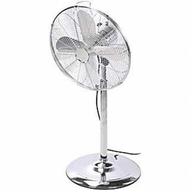 Luxe staande metalen ventilator 125 cm chroom