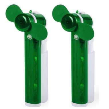 Set van 2x stuks groene hand ventilators met water verdamper 16 cm