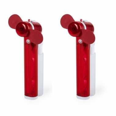 Set van 2x stuks rode hand ventilators met water verdamper 16 cm