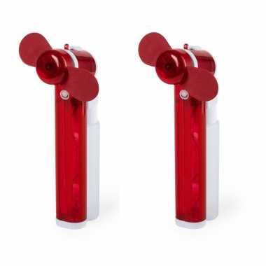 Set van 4x stuks rode hand ventilators met water verdamper 16 cm