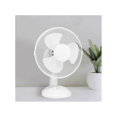 Witte tafel/bureau ventilator 22 cm