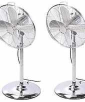 2x luxe staande metalen ventilator 125 cm chroom