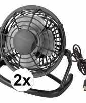 2x mini bureau ventilator usb zwart
