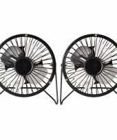 2x stuks kleine bureau ventilatoren zwart 15 cm met usb aansluiting