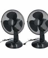2x tafel ventilatoren zwart 30 cm
