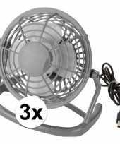 3x mini bureau ventilator usb grijs