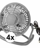 4x mini bureau ventilator usb grijs