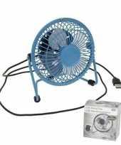 Blauwe usb ventilator 15 cm