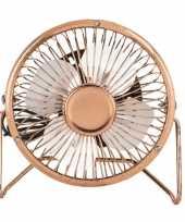 Kleine bureau ventilator rose goud 15 cm met usb aansluiting