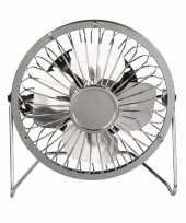 Kleine bureau ventilator zilver 15 cm met usb aansluiting