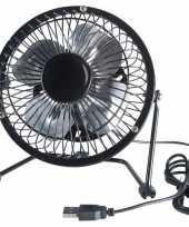 Zwarte usb ventilator 15 cm